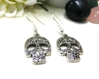 Silver Sugar Skull Earrings, Simple Earrings, Silver Earrings, Skull Jewelry, Protection Gift, Hippie Boho Earrings, Day of the Dead Skulls