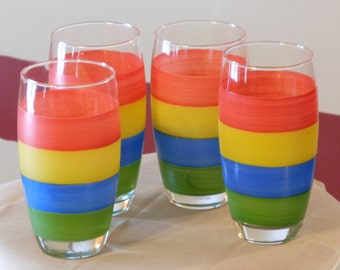 Brightly Colored Glass Tumblers