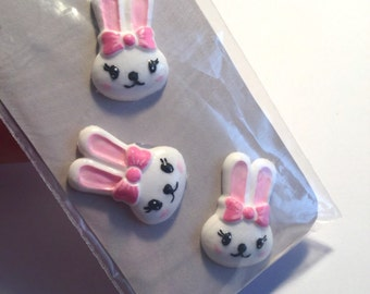 13pc polymer clay pink and white bunny andstar cabochons.
