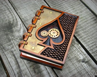 Alice in wonderland clock works wooden journal / ready to ship