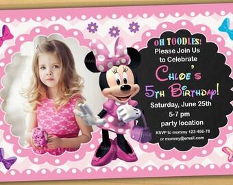 Minnie mouse Birthday Invitation, Minnie mouse Invitation, Minnie mouse chalkboard invitation, new 4 - Digital file