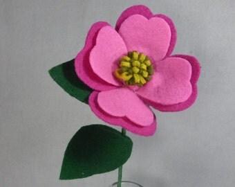Pink Dogwood Flower- Artificial Flower on a Stem - Felt Flower - Fake Flower - Artificial Flower - North Carolina State Flower