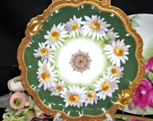 Stunning Limoges France hand painted daisy chain and gold artist signed plate charger