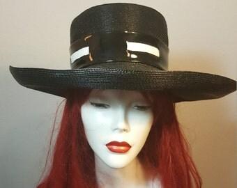 FREE  SHIPPING  Vintage Mod Straw Wide Brim Hat