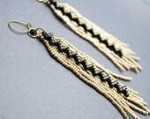 Rocker Chic Shoulder Skimmers, Long Gold Beaded Dangle Earrings, Wavy Black Gold Charm