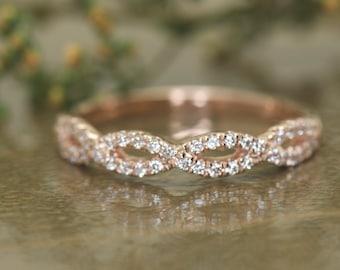 Twisted Pave Diamond Vine Wedding Band, Round Brilliant Cut Diamonds, 0.25ctw, 3.4mm Wide, Tight Twist Design, 1/2 Eternity, Hailey Anne