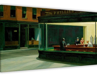 Famous American Painting Nighthawks By Edward Hopper on Framed Canvas Prints Wall art Pictures Re-Print Home Decoration