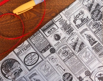 Vintage Bitters Witch Hazel Advertisement Gift Wrap Typography Newspaper Gift Wrap Black & White Roll 2 Yards