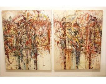 Contemporary Impasto Diptych Abstract Oil Canvas Painting by Deborah Friedman