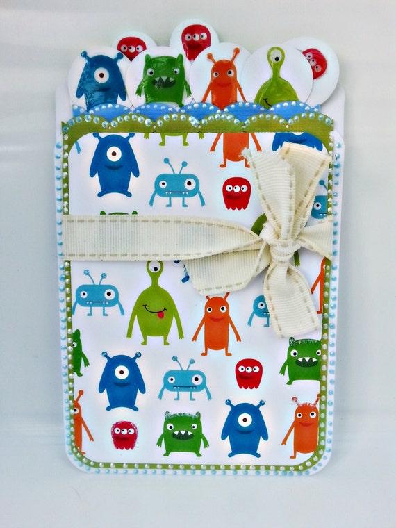 Alien theme. Ideal for Birthdays, Christening or a Baby Shower.Handmade Pocket Card for Kids.