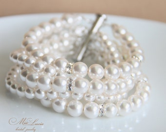Bridal Jewelry Set, Bridal Bracelet and Bridal Earrings, Pearl Bridal Jewelry Bracelet, Pearl Wedding Jewelry for Bride, art. 204 Perfezione
