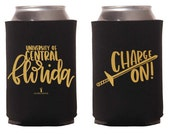 UCF Charge On Hand-Lettered Can Insulator | Can Cooler. University of Central Florida. Can Covers. Beer Cooler. Beer Hugger. UCF Knights.