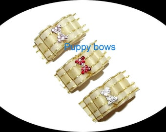 Puppy Bows ~Gold striped show dog bow with hourglass rhinestone centers ~USA seller