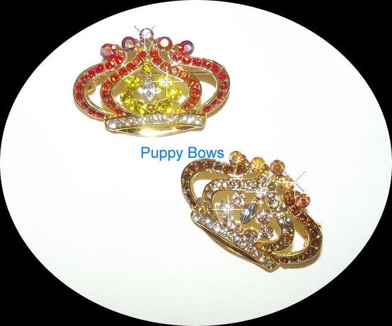 Puppy Bows ~Rhinestone SUNRISE SUNSET tiara barrette dog bow crystal rhinestone wedding clip ~USA seller