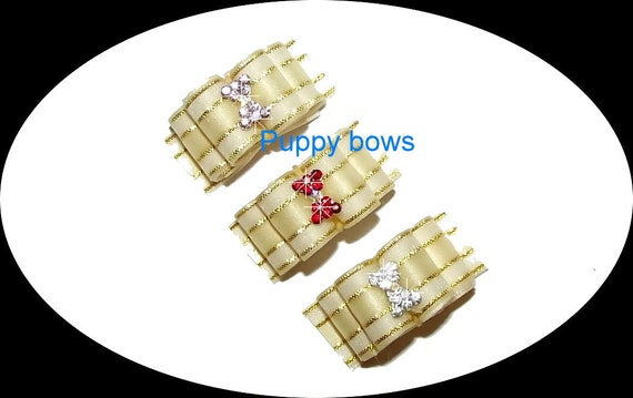 Puppy Bows ~Gold striped show dog bow with hourglass rhinestone centers ~USA seller   (fb18)