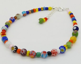 Anklet Ankle Bracelet Ankle Chain Millefiori Glass Beads Holiday Jewellery
