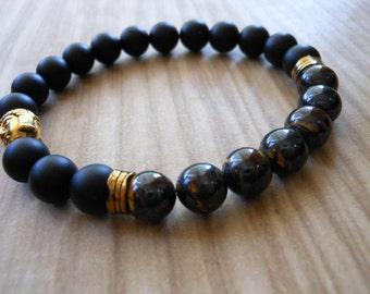 Tiger Iron Mala Bracelet, Healing & Balancing, Mala Bracelet, Yoga, Buddhist, Meditation, Prayer Beads, Unisex