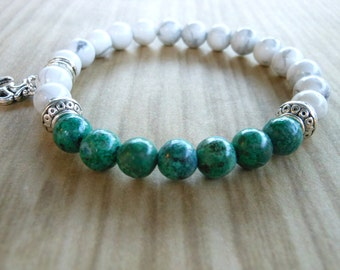Chrysocolla Mala Bracelet, Healing & Balancing, Mala Bracelet, Yoga, Buddhist, Meditation, Prayer Beads