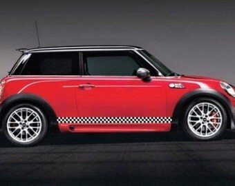 Black/White Checkered Rocker Stripe Side Panel Kit For MINI COOPER
