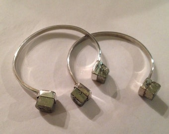 Vintage Sterling Silver and Pyrite Cuff Bracelet - Selling Individually