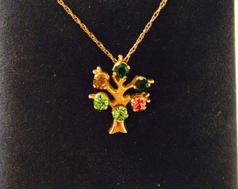 Vintage Signed Anson Tree Gemstone Pendant on 14K Gold Filled Chain Necklace