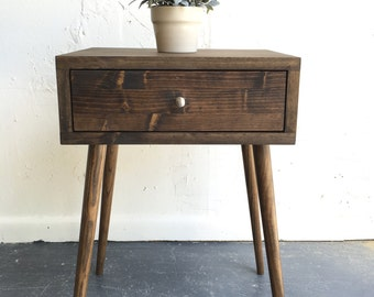 Mid century modern inspired side table with drawer