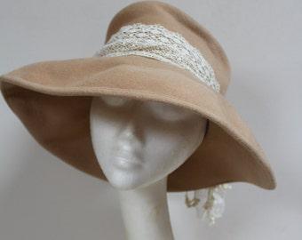 Upcycled caramel felt hat with antique lace detailing