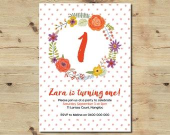 Custom Made 1st Birthday Invitation - Printable Invitation - Floral Invitation - Girl's Invitation - First Birthday Invitation - Polka Dots
