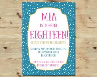 Printable 18th Birthday Invitation - Brights - Modern - Fun - Fresh - 30th Birthday - 21st Birthday