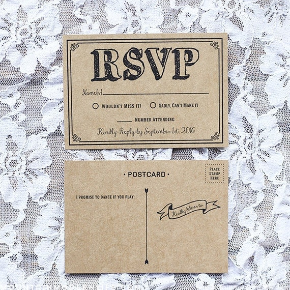 diy black rsvp card templates by mtnmodernlife on etsy