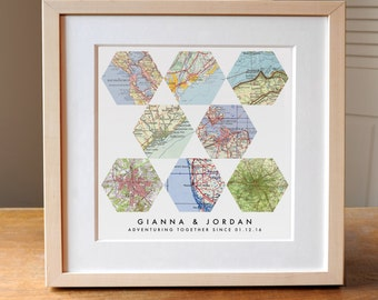 Gift for Couples, Travel Lover, Wedding Gift Art, Anniversary Gift, Personalized Map Art, 8 Maps, Geometric Modern Art