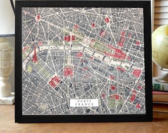 Paris Map Print, Vintage Paris Map, Antique Map of Paris, Paris France Map, Paris Gift, Paris Art