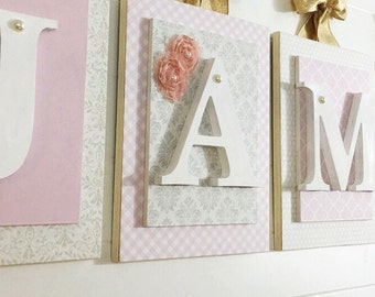 Nursery letters, customized letters, personalized wooden letters, wooden wall letters, wood letter, pink and cream nursery decor,