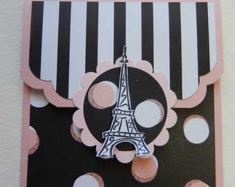 Pink and Black Eiffel Tower Giftcard Holder