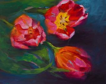 Red Tulip painting, tulip painting, tulip art, floral painting, original painting, small painting, gift idea, daily painting, Christmas
