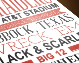 INSTANT DOWNLOAD | Texas Tech University Typography | 8x10 Printable TTU Red Raiders Art