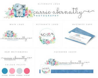 Marketing Kit, Watercolor Floral Camera,Photography Logo and Watermark, Premade Marketing Package n003