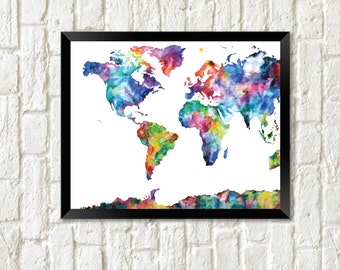 Watercolor world map download etsy watercolor world map travel wall art instant download gumiabroncs Images