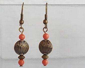 Coral Swarovski Crystal Pearl Drop Earrings
