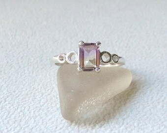 R319 Brazilian Ametrine Genuine Natural Emerald Cut Solitaire Ring in Sterling Silver