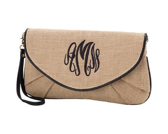 Burlap Clutch with Monogram