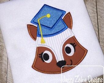 Graduation Fox Girl Appliqué Design