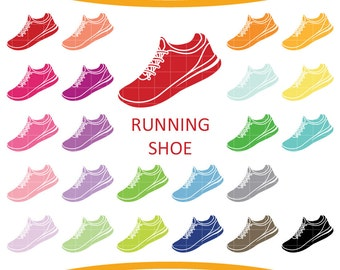 24 Running Shoes Clipart, Colorful Rainbow Color, Shoe Clip Art, Printable Supplies Instant download by NedtiDesigns
