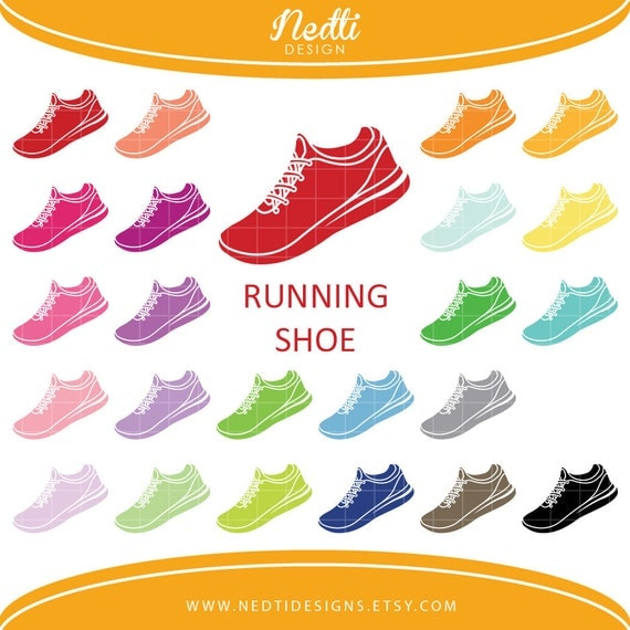 24 Running Shoes Clipart Colorful Rainbow Color Shoe Clip
