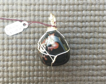 Silver wire wrapped black obsidian healing crystal pendant