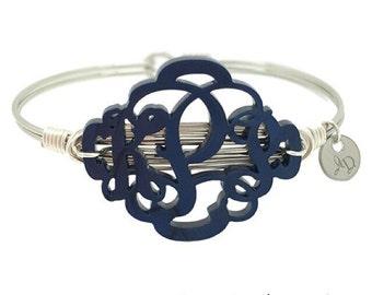 Monogram Bracelet   Custom Colors   Monogram Gift  