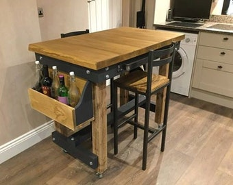 Rustic Modern Butchers Block Style Breakfast Bar