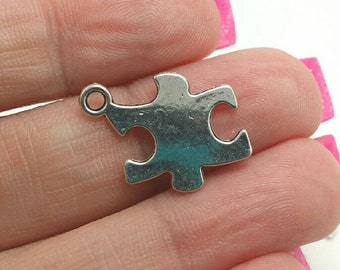 BULK 50 Puzzle Piece Charms, Silver Puzzle Charms, Bulk Charms (5-1008)