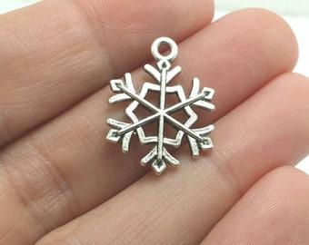 8 Snowflake Charms, Silver Snowflake Charms, Winter Charms, Christmas Charms (1-1105)