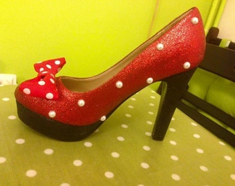 Minnie Mouse disney inspired part evening shoes glitter